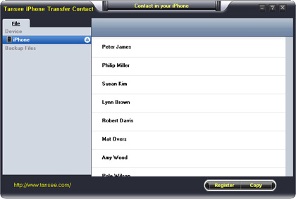 Tansee iPhone Transfer Contact screenshot: iphone contact to computer, Backup contact in iPhone, backup iPhone contact photo, backup iPhone contact's photo, copy iPhone contact,iPhone Transfer contact, iPhone to PC, Tansee