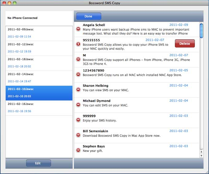 Tansee iPhone SMS Transfer for MAC screenshot: iphone SMS to MAC,Backup SMS in iPhone,Manage iPhone SMS,iPhone SMS,Copy iPhone SMS,iPhone Transfer SMS,iPhone to MAC,Tansee